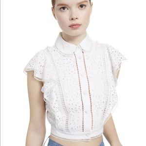 Alice and Olivia Cavan Embroidered Eyelet Blouse